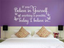 "Wall Quote ""If you believe in yourself"" Motivating Sticker Decal Decor Transfer"